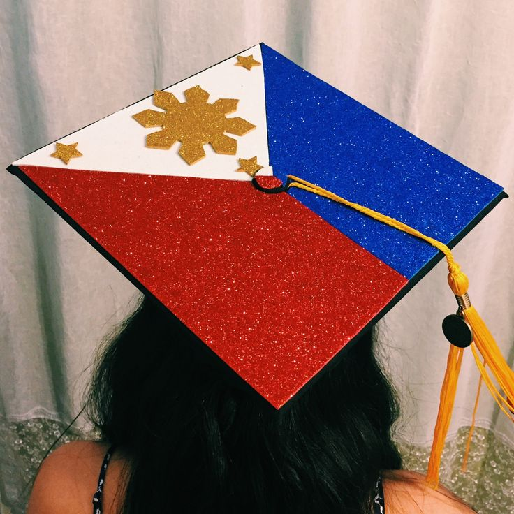 I MADE THIS! Graduation cap idea: Philippine flag for all the proud pinoys and pinays out there!