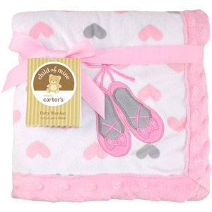 Child of Mine by Carter's Ballerina Monkey 2-Ply Embroidered Print Valboa Blanket, Girl