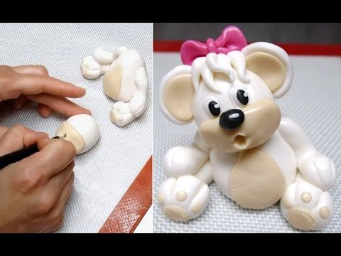 Teddy Bear Fondant Figure/Topper #1 - How To. Tutorial by CakesStepbyStep. - YouTube