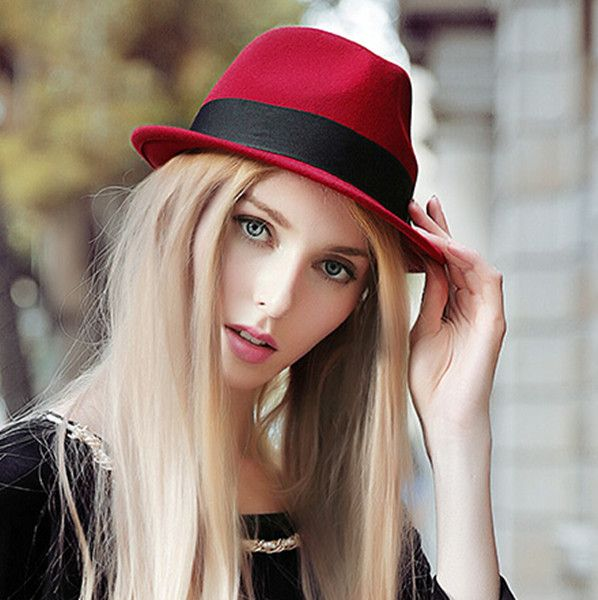 2015 fashion red fedora hat for women winter wool hats