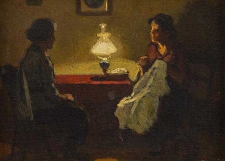 Cafiero Filippelli (Livorno 1889 - 1973) - Conversazione, 1932 - Olio su tavola, 18 x 24 cm.