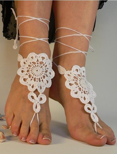 Ivory Flower Crochet Bridal Barefoot Sandal Feet Jewelry - Outstanding Marketplace, Better Shopping!
