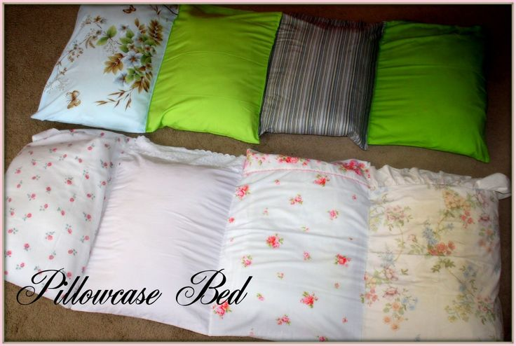 Sew pillowcases together for a portable bed