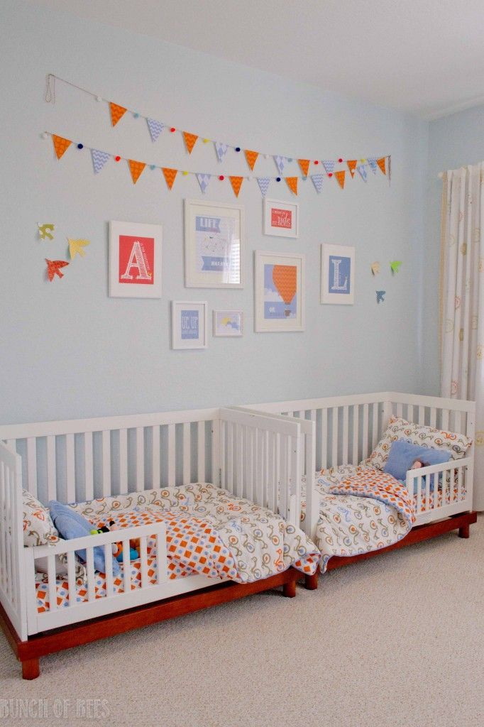 toddler bed or straight to twin?  art by bunch of bees on etsy  Toddler twin boys shared space