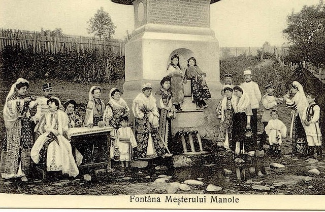 Picture from Romania, early XX-th century, traditional Romanian Folk Costumes, from Arges county.