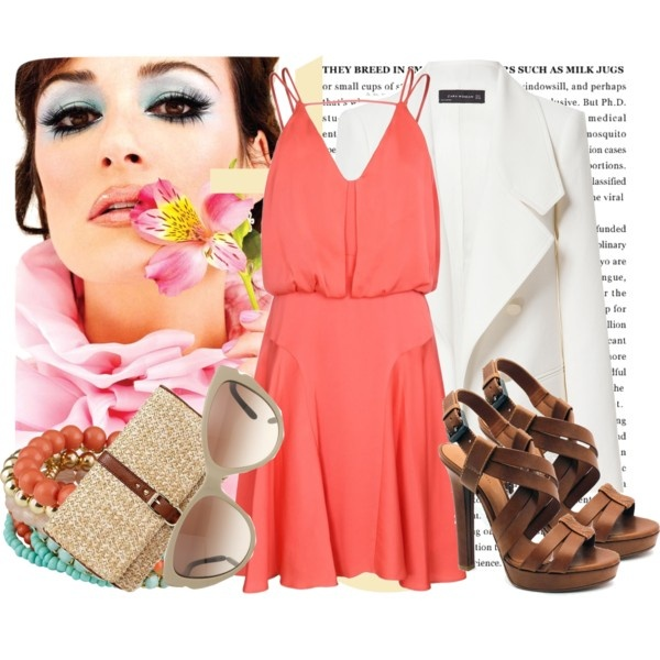 Coral dress is a must have by xokolat on Polyvore