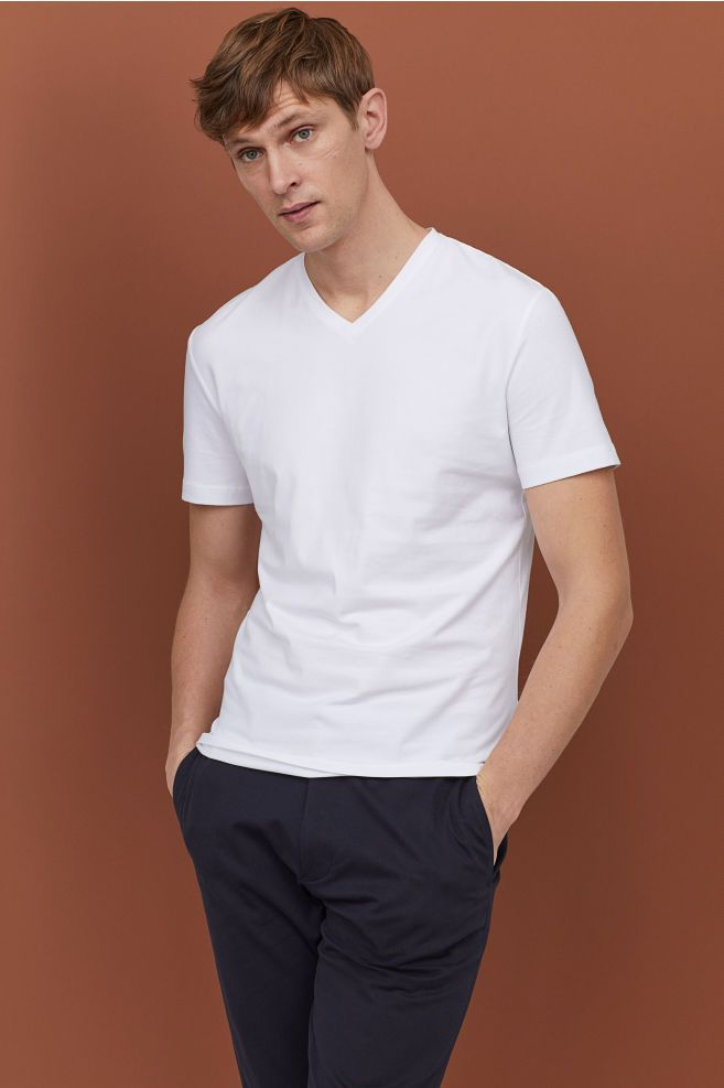 60702080 H&M 3-pack Slim Fit T-shirts - White in 2019 | Shopping | Shirts, T ...