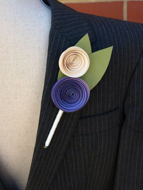Buttonhole / Boutonniere in Purple and Cream for A by PulpPetals, $26.00