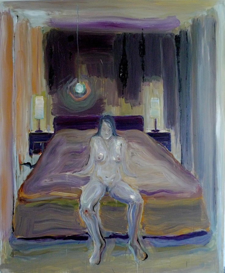 Camille on a bed, 2012, Oil on canvas 230x190cm by Per Adolfsen