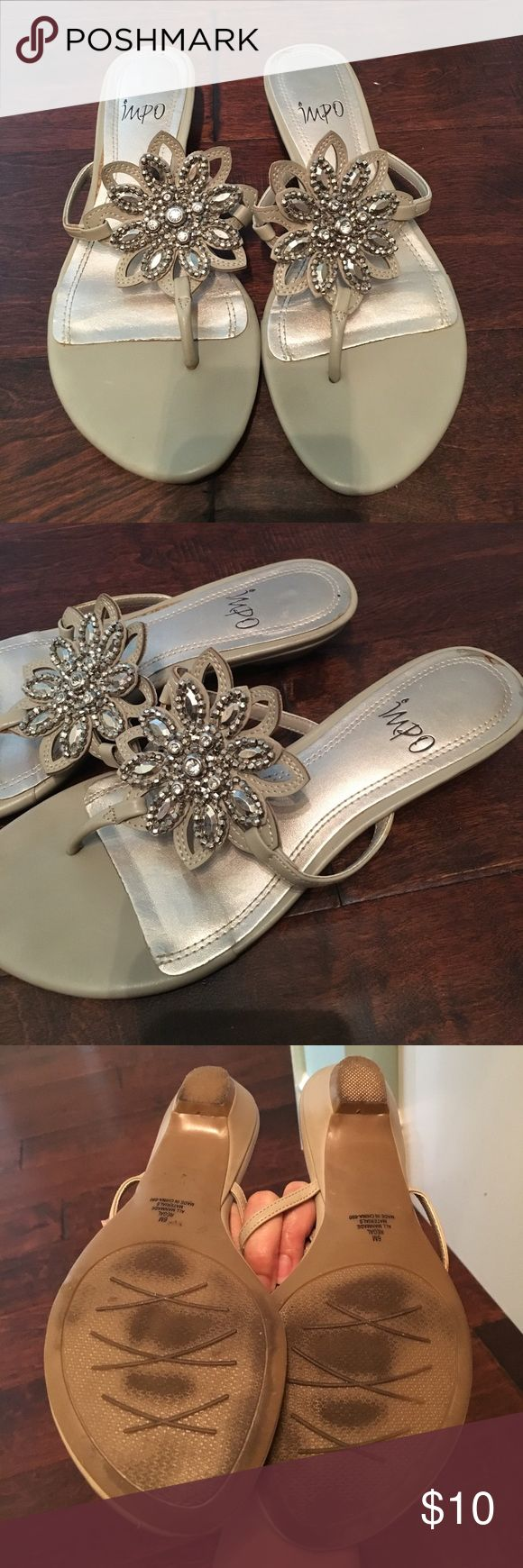 Dressy flip flops Pre-loves but still have some wear left in them.  Neutral taupe/grey. Shoes Sandals