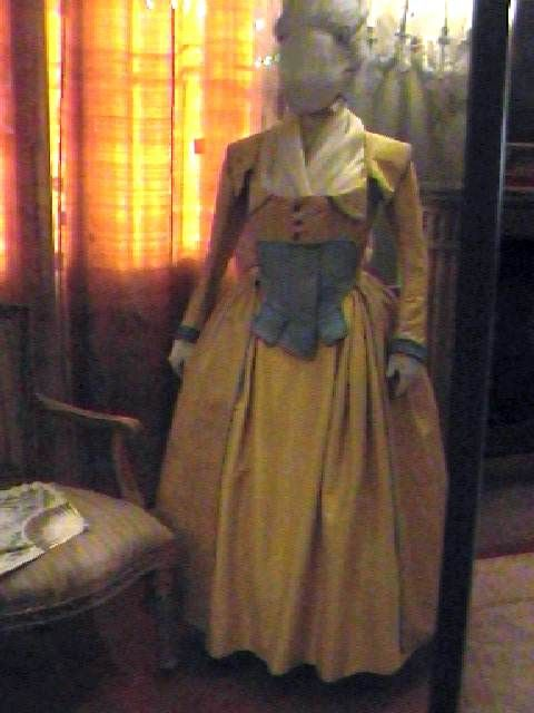 late 1700's yellow and blue taffeta dress.
