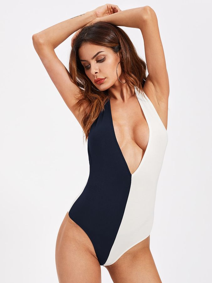 Shein Two Tone Plunging Halter Bodysuit