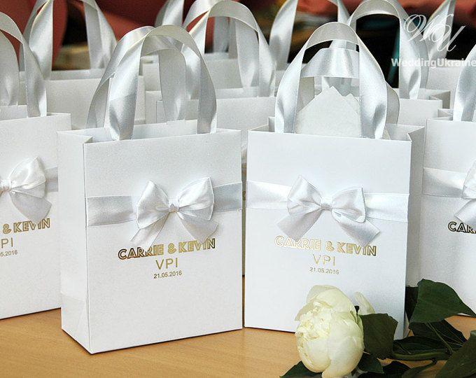 70 lusso matrimonio sacchetti regalo con nastro di raso, arco e lamina d'oro nomi - elegante sacchetto di carta personalizzati - borse personalizzate matrimonio benvenuto