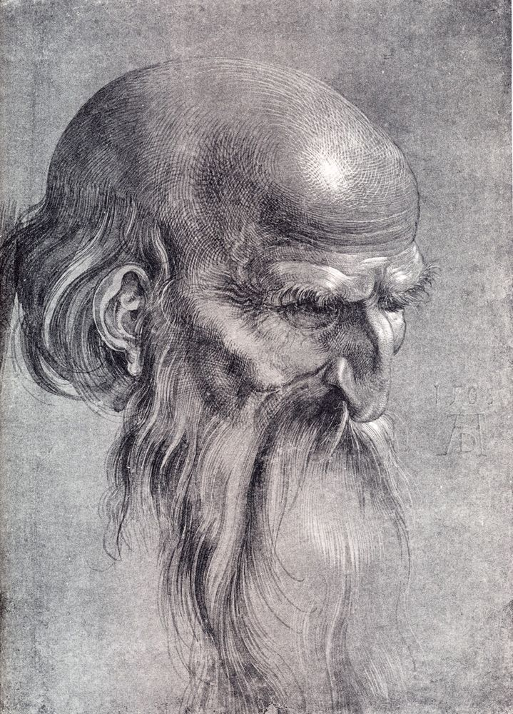 Albrecht Durer (1471-1528) 1508 Head Of An Apostle Looking Downward Brush drawing Private collection