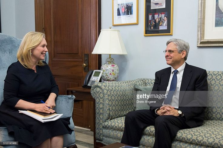 Sen. Kirsten Gillibrand (D-NY) talks to U.S. Supreme Court nominee Merrick Garland during a photo opportunity before a private meeting with in her office on Capitol Hill, March 30, 2016 in Washington, DC. Yesterday, Senator Mark Kirk (R-IL) became the first Republican lawmaker to meet with Garland, who was nominated by President Obama to fill the Supreme Court vacancy created by the death of Antonin Scalia.