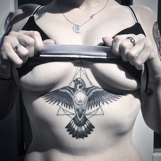 Andy MA, Berlin. Bird geometric dotwork sternum tattoo