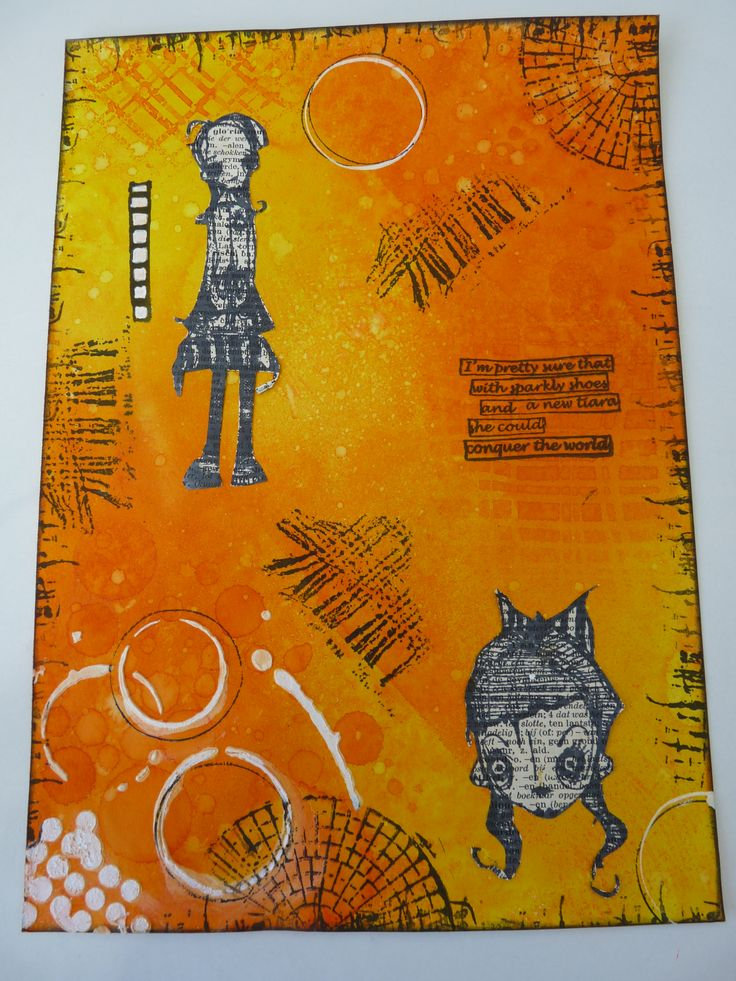 Art Journal with ink, stamps and gesso