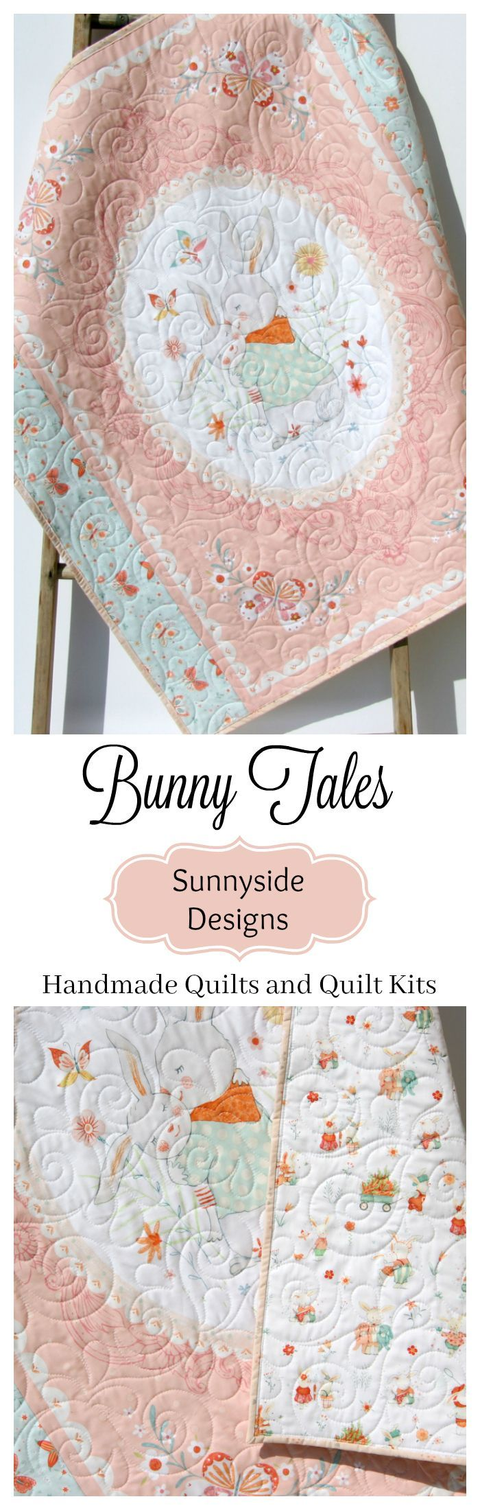 Handmade Bunny Baby Quilt, Rabbits Mommy and Me, Pink Coral Blue Butterflies, Baby Quilt Kit, Beginner Panel Quilt Kit, Baby Shower Gift, Bunny Tales Fabrics, Handmade Quilt for Sale by Sunnyside Designs