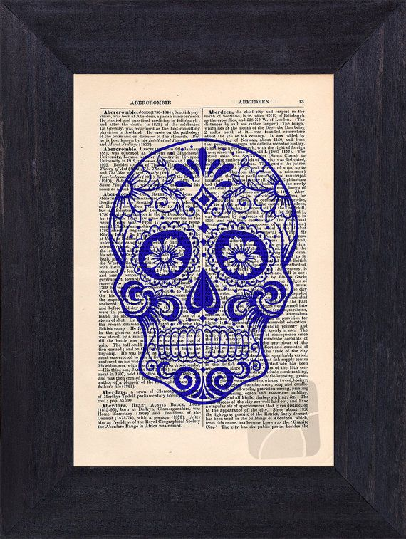 Art Print Sugar Skull on an upcycled vintage by CartabanCards