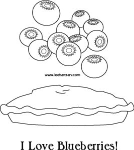 Baking time blueberies and pie coloring page Fall