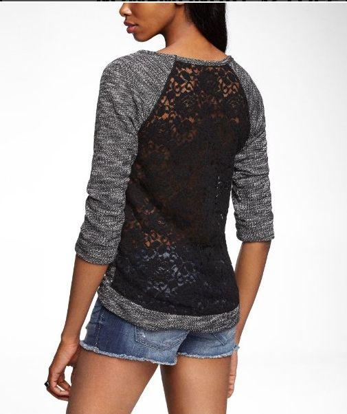 Express Lace Back Sweatshirt, $50 / 30 Sweatshirts You Can Wear To Work (via BuzzFeed)