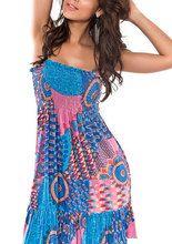 Blumenmuster trägerloser Ausschnitt attraktives Strandkleid aus Polyester