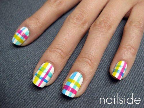 pastel plaid nails