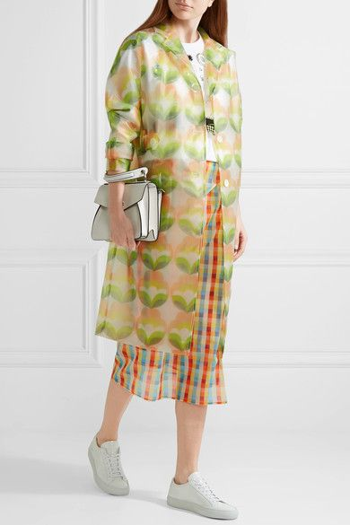 Miu Miu - Printed Vinyl Trench Coat - Green - IT40