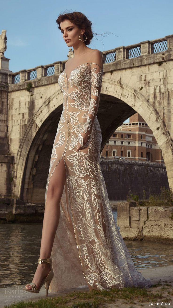 long sleeves illusion off shoulder beaded sheath wedding dress (tatiana) fv nude color slit skirt