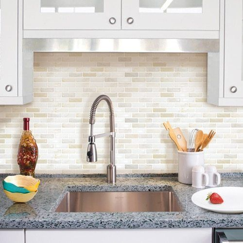 Self Adhesive Wall Tiles Peel And Stick Backsplash Kitchen Bath Grey White Beige  | eBay