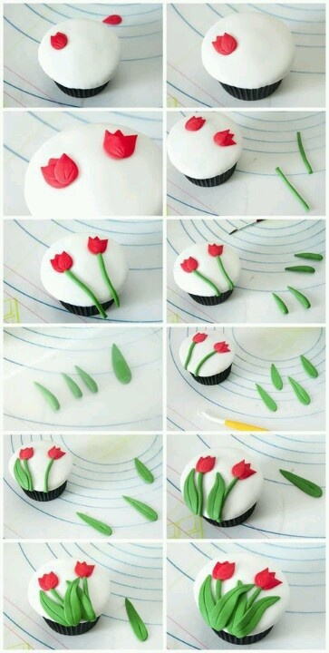 tulip cupcakes-step by step