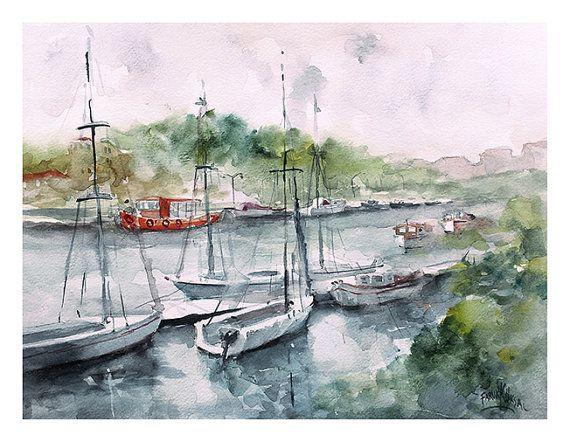 Riverside -  Watercolor by Faruk Köksal