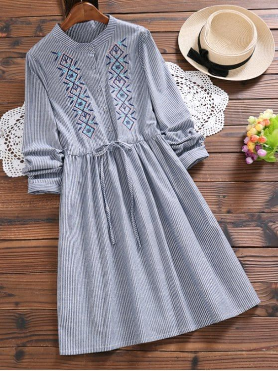 Up to 80% OFF! Embroidered Patch Striped A Line Dress. #Zaful #Dress Zaful,zaful dress,zaful outfits,black dress,dress,dresses,fashion,fall fashion,fall outfits,winter outfits,winter fashion,dress,long dress,maxi dress,long sleeve dress,flounced dress,vintage dress,casual dress,lace dress,boho dress,dresses casual,flower dresses,maxi dresses,evening dresses,floral dresses,long dresses,party dresses,gift,Christmas,ugly Christmas, New Year 2017, New Year Eve. @zaful Extra 10% OFF Code:ZF2017