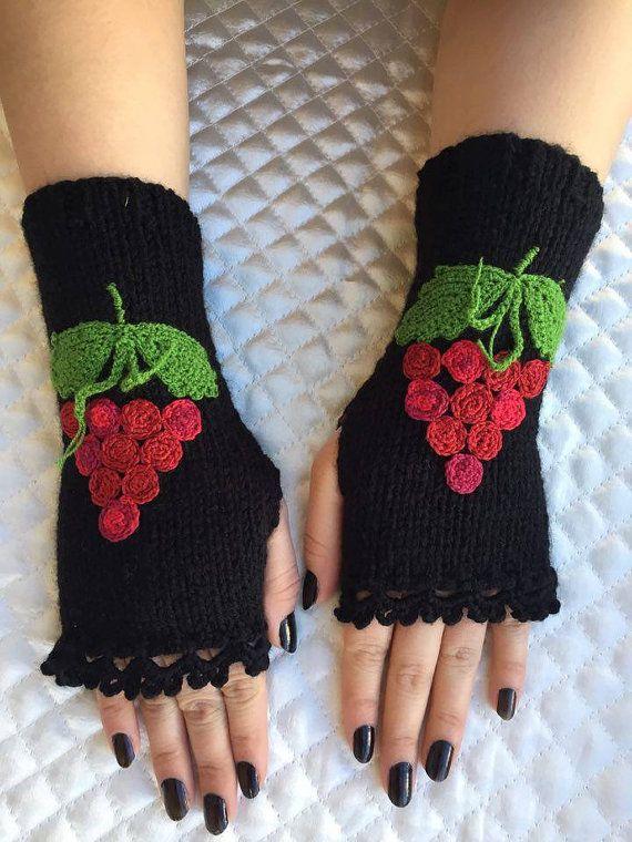 Knitted Fingerless Gloves Black Grape Embroidered by PinarKnitting
