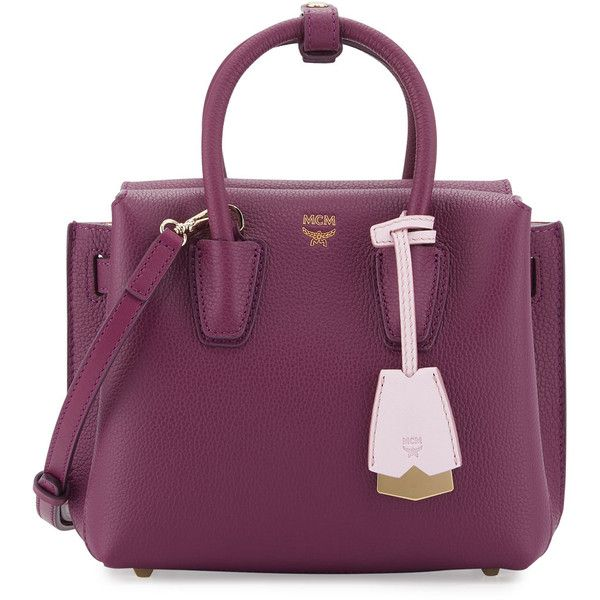 Mcm Milla Mini Leather Tote Bag (£595) ❤ liked on Polyvore featuring bags, handbags, tote bags, purple pattern, mini tote, mini leather tote, mini tote bags, leather handbag tote and handbags totes