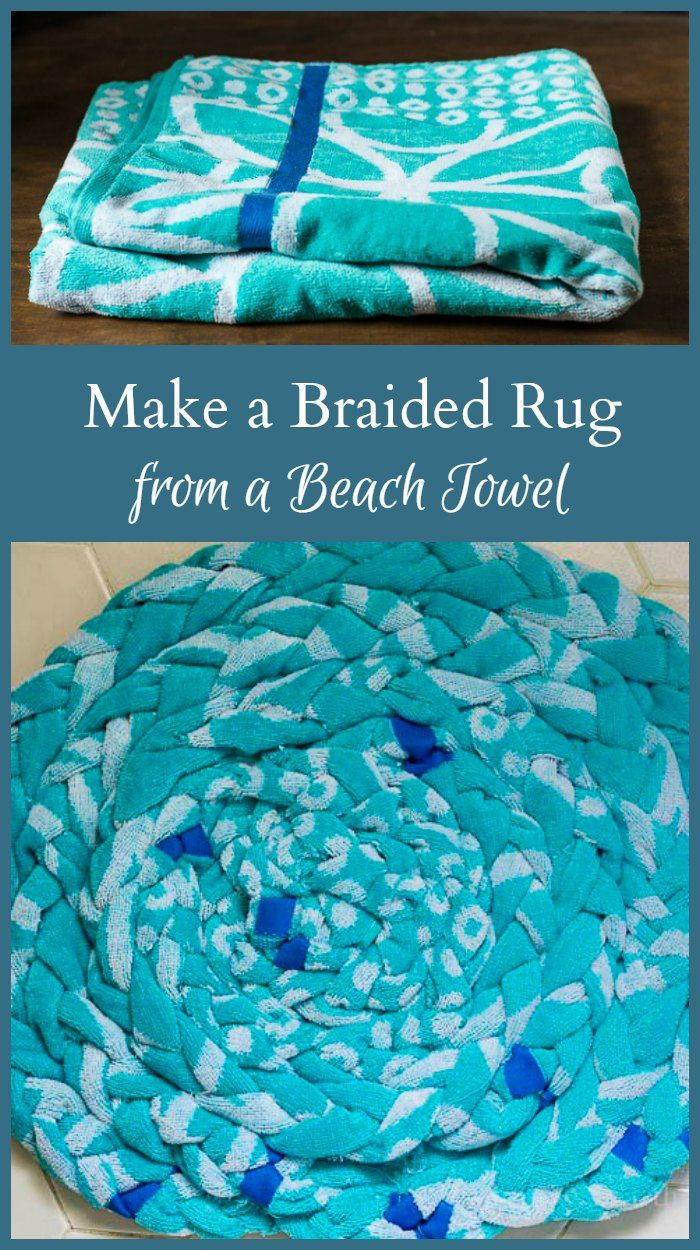 Learn how to make a braided beach towel rug that you can use in the bathroom for a fun decorative piece that is also very useful.