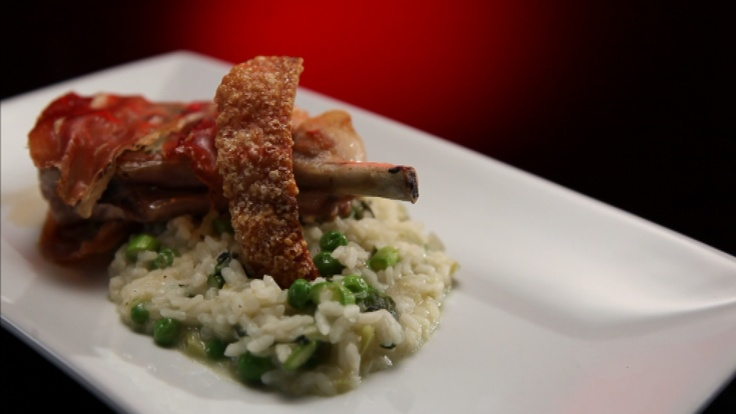 Pork Chops with Proscuitto, Apple and Gorgonzola served with Asparagus and Pea Risotto