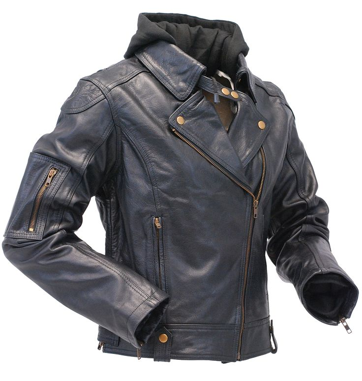 Ladies black leather motorcycle jacket with removable hoodie. This hooded black leather jacket is made from premium heavy buffalo leather that is comfortable and durable. Several features of this motorcycle jacket include zip up cuffs, front and insi?