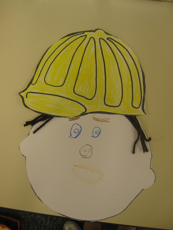 "One face, five hats. Student can make his/her face. Color & cut out different hats to ""put"" on face."