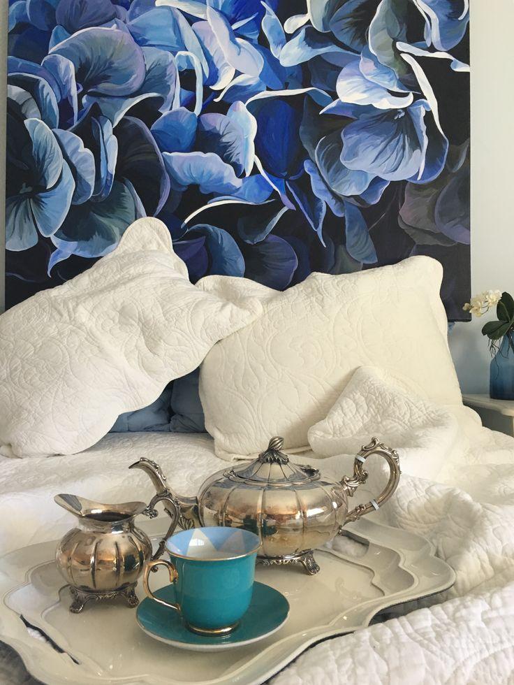 'Hydrangeas'  as a headboard design statement 120 x 90 cm Jenny Fusca Paintings