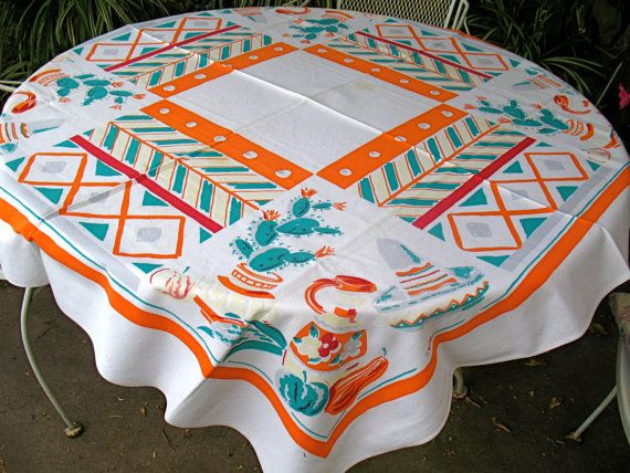Vintage 50s SIMTEX SOUTHWEST TABLECLOTH by theheritagekitchen, $35.00