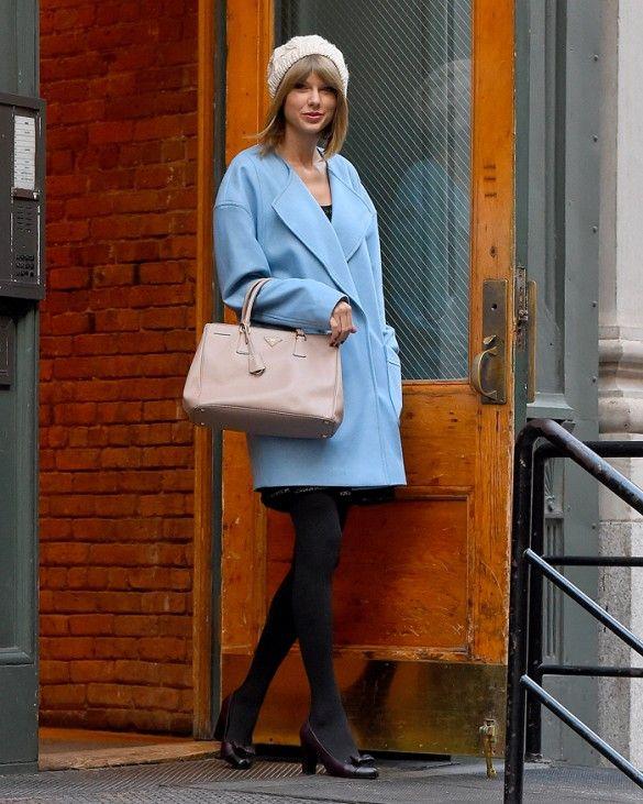 Taylor Swift's Fabulous Powder Blue Coat Is Under $100 via @WhoWhatWear