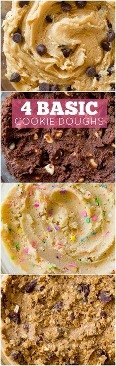 Voici 4 pâtes à biscuits de base à maîtriser! biscuits aux pépites de chocolat, biscuits au chocolat fudge, biscuits au sucre, et les meilleurs biscuits à l'avoine! sallysbakingaddiction.com