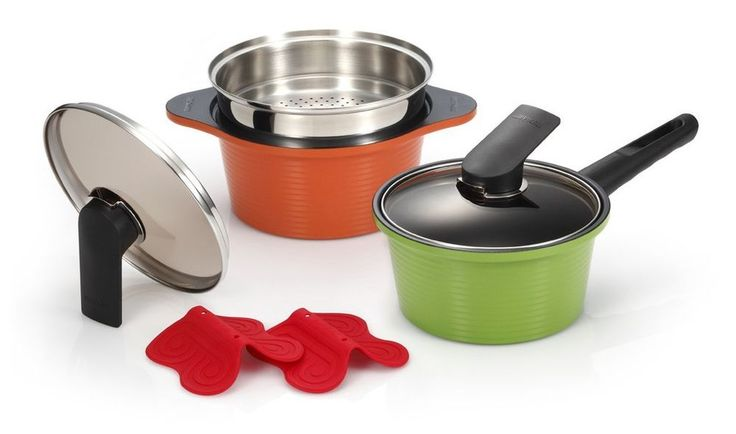Happycall Hard Anodized Ceramic Coating Pots Steamer Kitchen Cookware Set 6Piece #Happycall