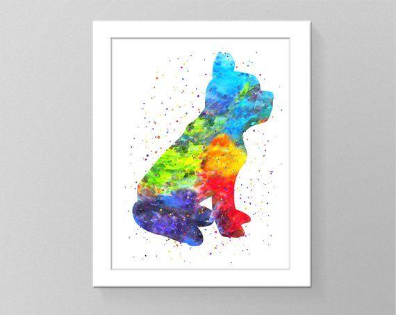 Boston Terrier Art Watercolor Splash Art Pictures Poster