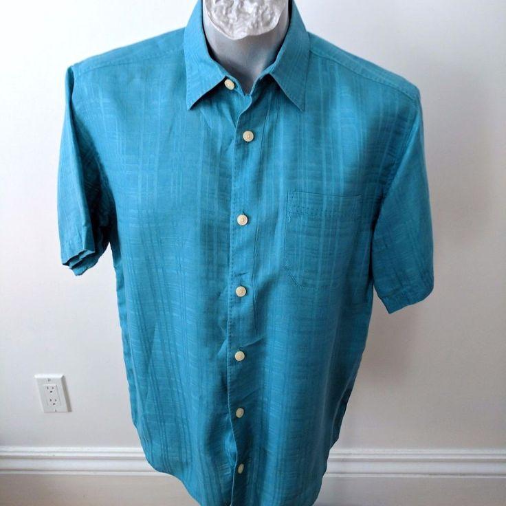 Tommy Bahama Mens Sz S Camp Shirt Linen SS Green Teal Sea Foam #TommyBahama #ButtonFront