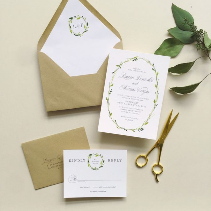 Delicate Wreath Wedding Invitations | Smitten On Paper