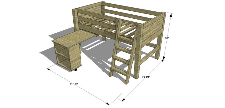 twin loft bed with desk plans free woodworking projects plans. Black Bedroom Furniture Sets. Home Design Ideas