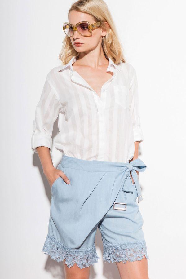 FRAKE camicia m/l righe jacquard, EDDIE shorts chambray