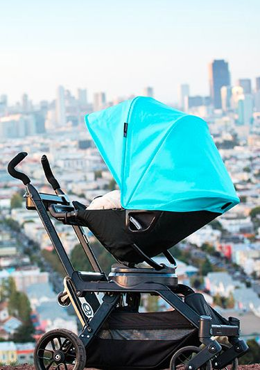 Pro-tip for the Orbit stroller system: it's swiveling seat allows you to pull the stroller up super close to the table when you're in a restaurant.